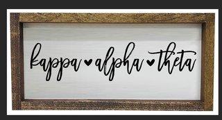 Kappa Alpha Theta Script Wooden Signs