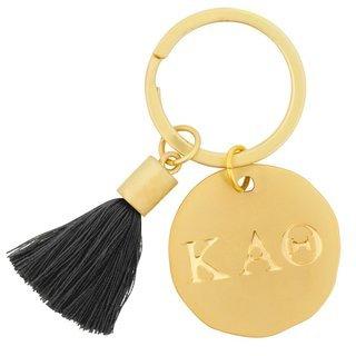 Kappa Alpha Theta Sorority Tassel Gold Key Chain