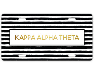 Kappa Alpha Theta Striped Gold License Plate