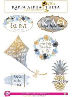 Kappa Alpha Theta Water Color Stickers