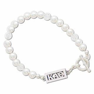 Kappa Alpha Theta White Pearl & Clear Bracelet