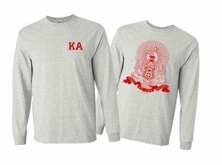 Kappa Alpha World Famous Crest Long Sleeve T-Shirt- MADE FAST!
