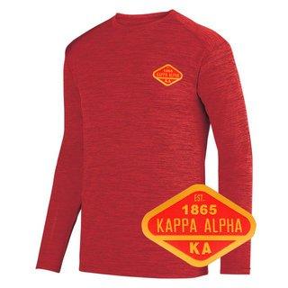 DISCOUNT-Kappa Alpha Woven Emblem Greek Dry Fit Tonal Long Sleeve Tee