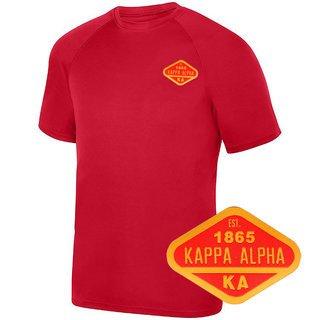 DISCOUNT-Kappa Alpha Woven Emblem Greek Dry Fit Wicking Tee