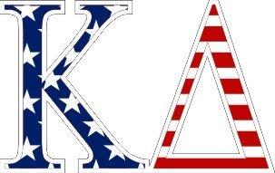 """Kappa Delta American Flag Greek Letter Sticker - 2.5"""" Tall"""