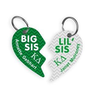 Kappa Delta Big & Little Heart Halve Key Chains (2)