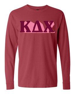 Kappa Delta Chi 3 D Greek Long Sleeve T-Shirt - Comfort Colors