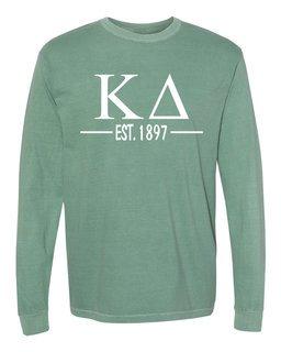 Kappa Delta Custom Greek Lettered Long Sleeve T-Shirt - Comfort Colors