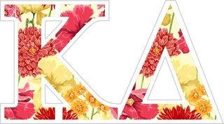 """Kappa Delta Floral Greek Letter Sticker - 2.5"""" Tall"""