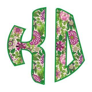 """Kappa Delta Floral Greek Monogram Sticker - 3"""" Tall"""