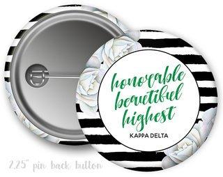 Kappa Delta Floral Motto Button