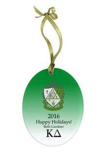 Kappa Delta Holiday Color Crest - Shield Glass Ornament