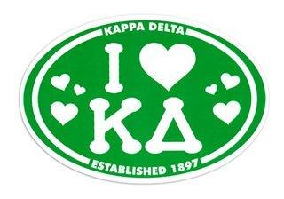 Kappa Delta I Love Sorority Sticker - Oval