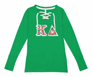 Kappa Delta LAT - Sorority Fine Jersey Lace-Up Long Sleeve T-Shirt