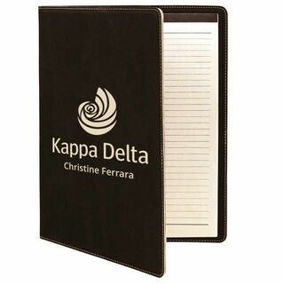 Kappa Delta Leatherette Mascot Portfolio with Notepad