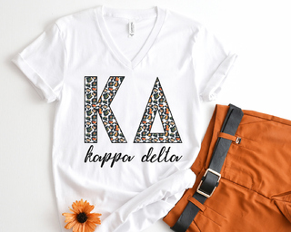 Kappa Delta Leopard V-Neck Tee