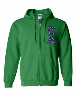 "Kappa Delta Lettered Heavy Full-Zip Hooded Sweatshirt (3"" Letters)"