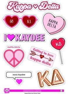 Kappa Delta Love Theme Stickers
