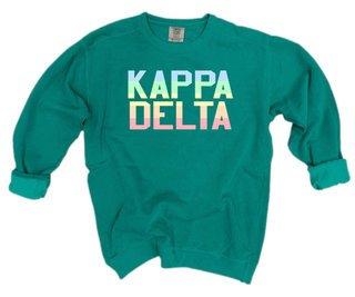 Kappa Delta Pastel Rainbow Crew - Comfort Colors