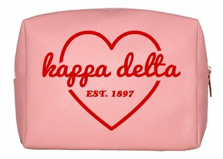 Kappa Delta Pink with Red Heart Makeup Bag