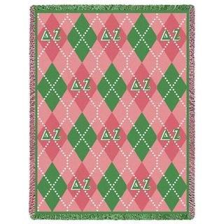 Delta Zeta Plaid Afghan Blanket
