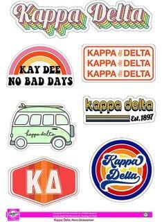 Kappa Delta Retro Sticker Sheet
