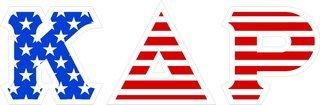 "Kappa Delta Rho Giant 4"" American Flag Greek Letter Sticker"