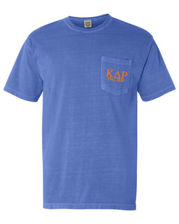 Kappa Delta Rho Greek Letter Comfort Colors Pocket Tee