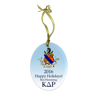 Kappa Delta Rho Holiday Color Crest - Shield Glass Ornament