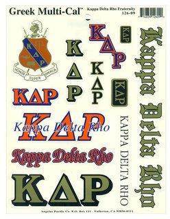 Kappa Delta Rho Multi Greek Decal Sticker Sheet