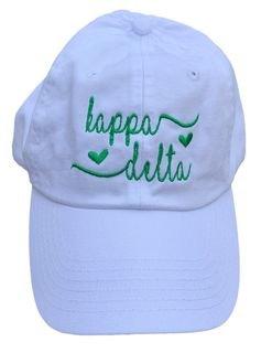 Kappa Delta Script Hearts Ball Cap
