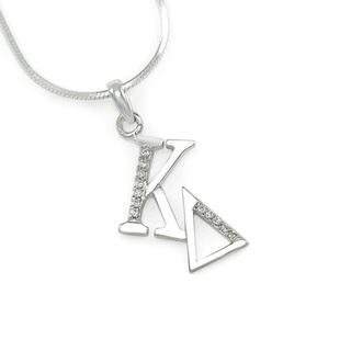 Kappa Delta Sterling Silver Diagonal Lavaliere set with Lab-Created Diamonds