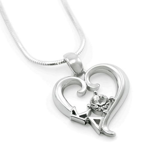 Kappa Delta Sterling Silver Heart Pendant with Swarovski Clear Crystal