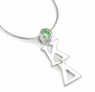 Kappa Delta Sterling Silver Lavaliere Pendant with Swarovski Green Crystal
