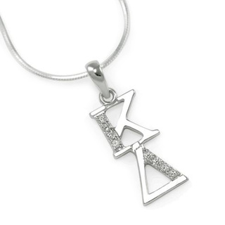 Kappa Delta Sterling Silver Lavaliere set with Lab-Created Diamonds