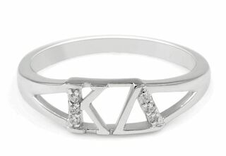 Kappa Delta Sterling Silver Ring set with Lab-Created Diamonds