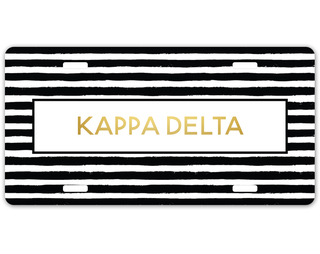 Kappa Delta Striped Gold License Plate