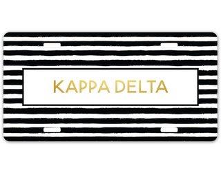 Kappa Delta Striped Gold License Plate