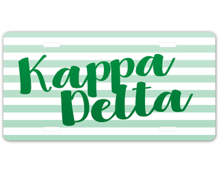Kappa Delta Striped License Plate