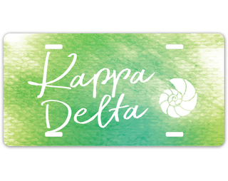 Kappa Delta Watercolor Script License Plate