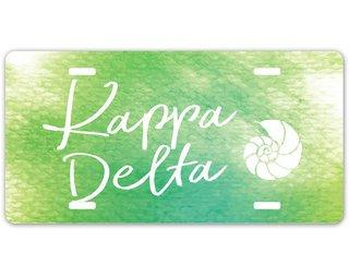 Kappa Delta Watercolor Script License Plate