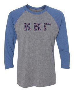 Kappa Kappa Gamma Unisex Tri-Blend Three-Quarter Sleeve Baseball Raglan Tee