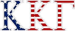 """Kappa Kappa Gamma American Flag Greek Letter Sticker - 2.5"""" Tall"""