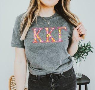 Kappa Kappa Gamma Bright Flowers Lettered Short Sleeve T-Shirt