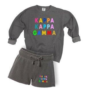 Kappa Kappa Gamma Comfort Colors Crew and Short Set