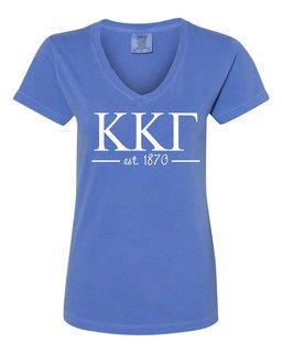 Kappa Kappa Gamma Comfort Colors Custom V-Neck T-Shirt