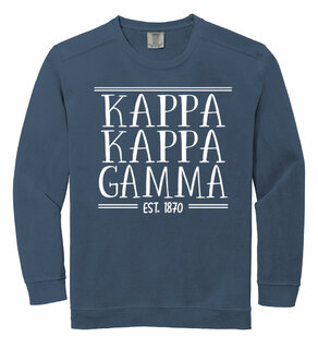 Kappa Kappa Gamma Comfort Colors Custom Crewneck Sweatshirt
