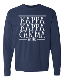 Kappa Kappa Gamma Comfort Colors Custom Long Sleeve T-Shirt