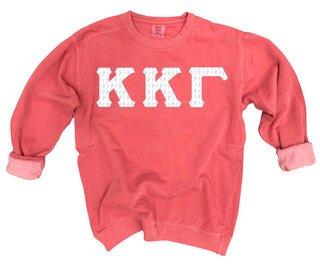 Kappa Kappa Gamma Comfort Colors Lettered Crewneck Sweatshirt