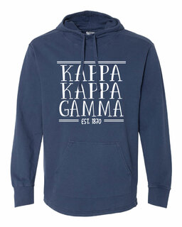 Kappa Kappa Gamma Comfort Colors Terry Scuba Neck Custom Hooded Pullover